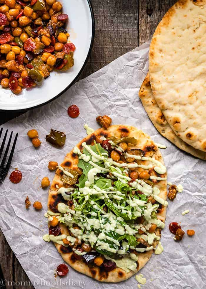 Roasted Pepperoni Veggies Naans with Avocado Tzatziki-1
