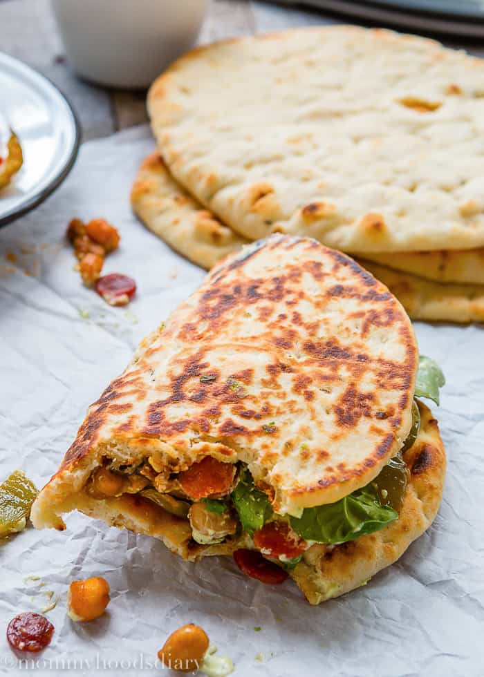 Roasted Pepperoni Veggies Naans with Avocado Tzatziki-10