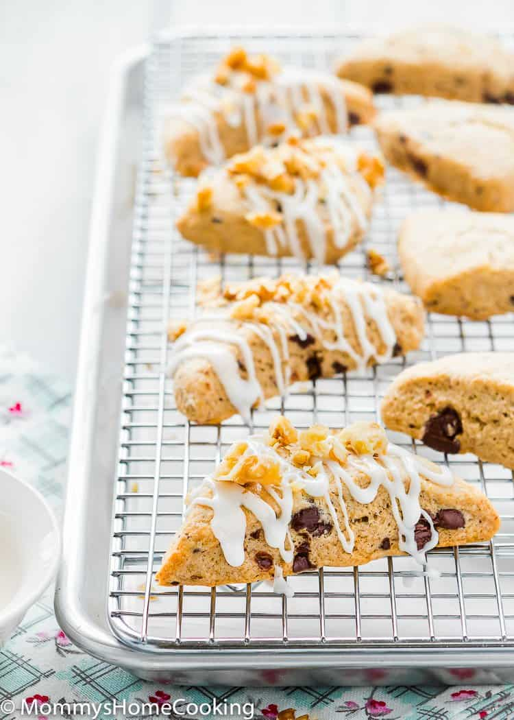 Eggless Chocolate Chip Scones over a cooling rack