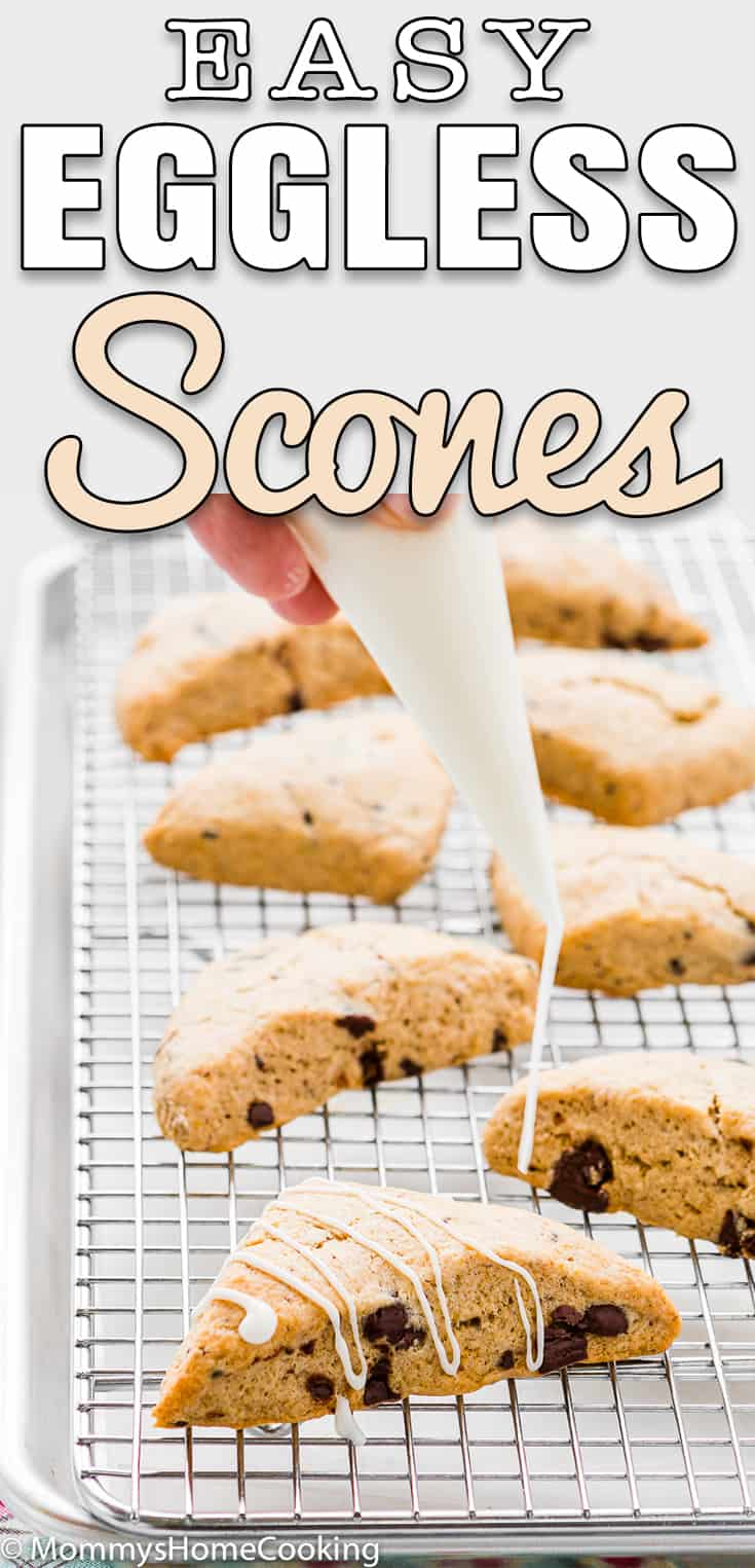 easy eggless chocolate chip scones with text overlay
