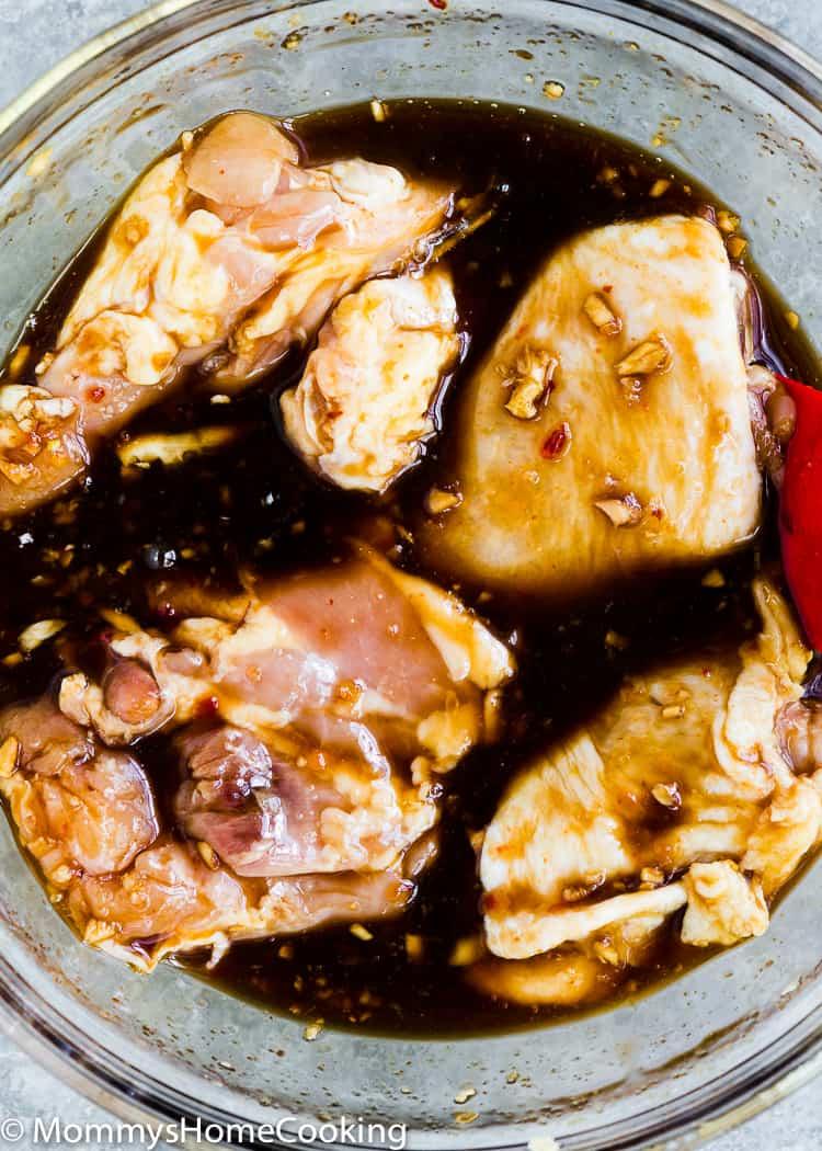 Chicken thighs marinated in Thai marinade