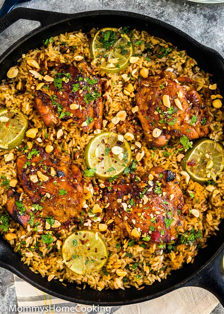 skillet with Thai rice and chicken close-up