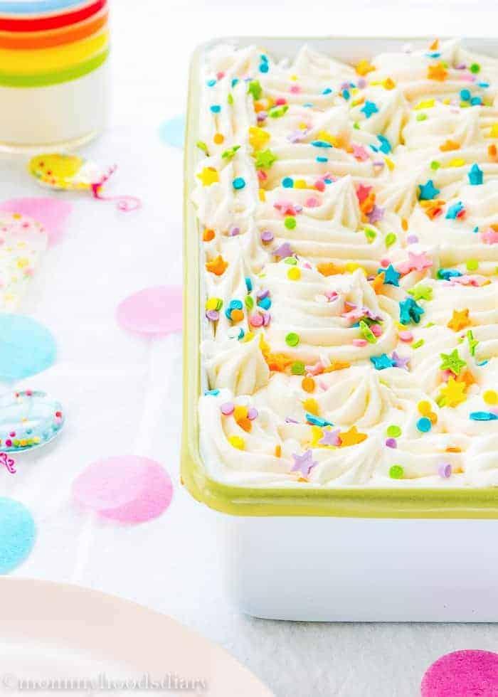 Eggless Confetti Cake | Mommyhood's Diary