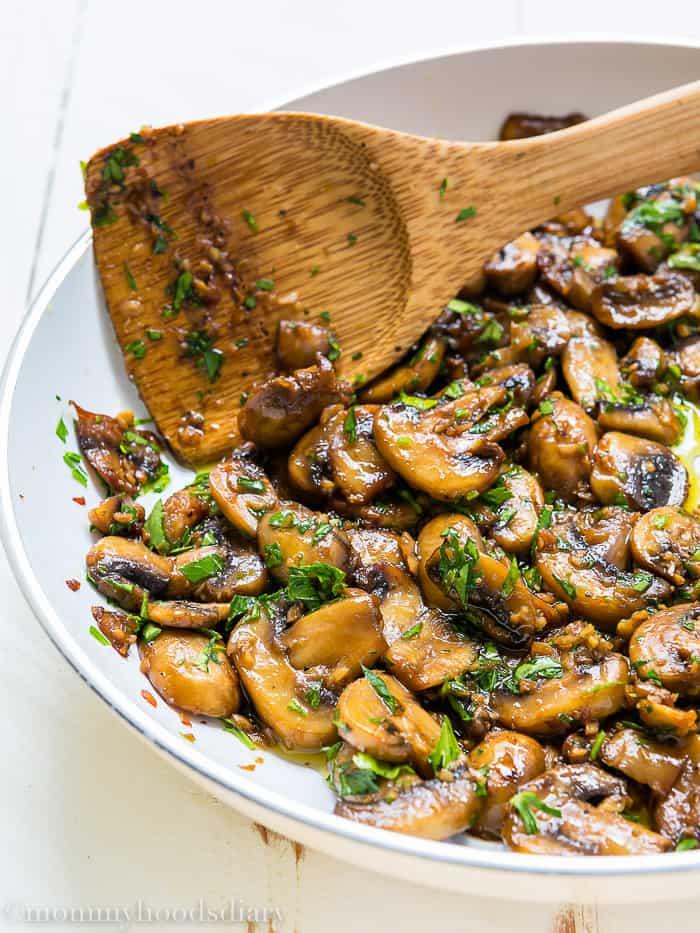 Teriyaki Garlic Mushrooms and Thyme Goat Cheese Bruschetta-1