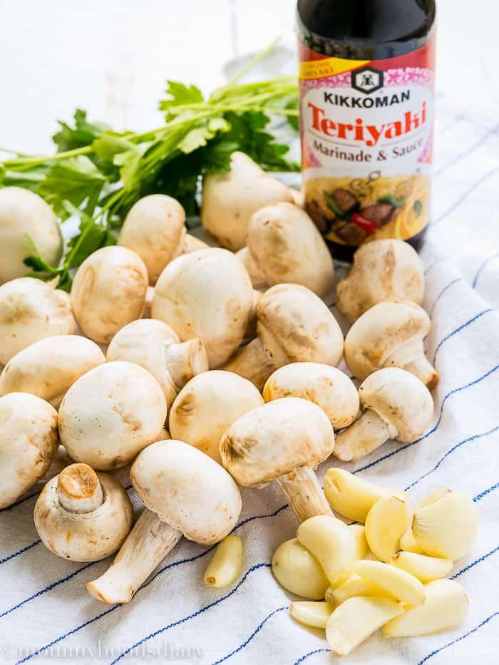 Teriyaki Garlic Mushrooms and Thyme Goat Cheese Bruschetta-3