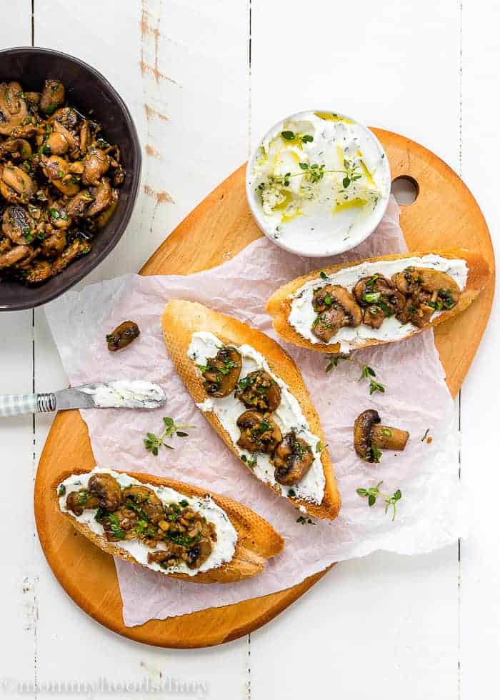 Teriyaki Garlic Mushrooms and Thyme Goat Cheese Bruschetta-4