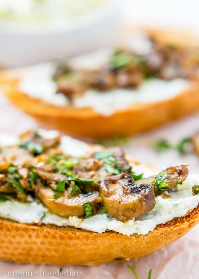 Teriyaki Garlic Mushrooms and Thyme Goat Cheese Bruschetta-5