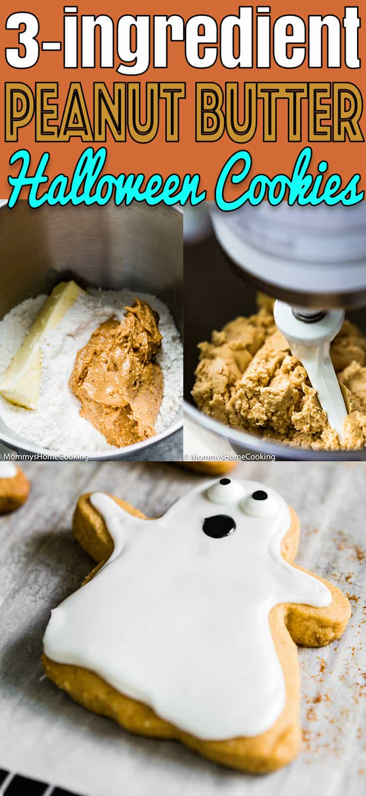These 3-Ingredient Eggless Peanut Butter Halloween Cookies are easy to make and delicious! These cookies really do melt in your mouth. #recipe #cookies #eggless #easy #peanutbutter #halloween