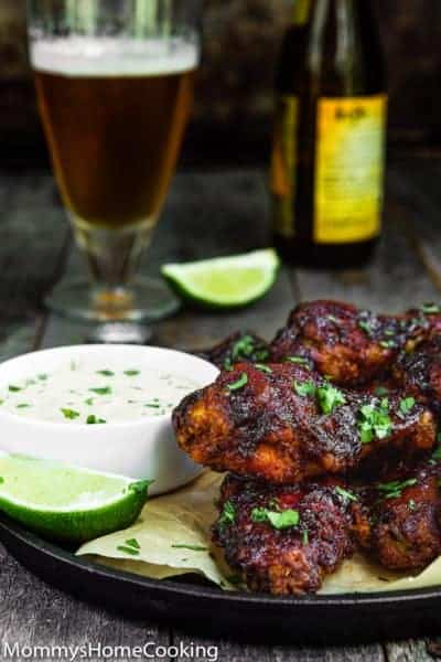 crispy chipotle chicken wings in a plate