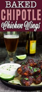 crispy baked chipotle chicken wings with chipotle mayo with descriptive text