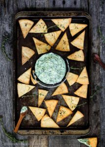 Yogurt Pesto Dip with Homemade Thyme Pita Chips | Mommyhood's Diary