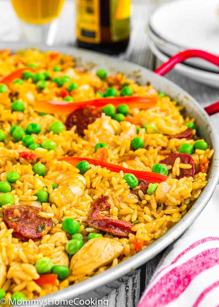 Spanish Paella in a skillet with roasted red pepper
