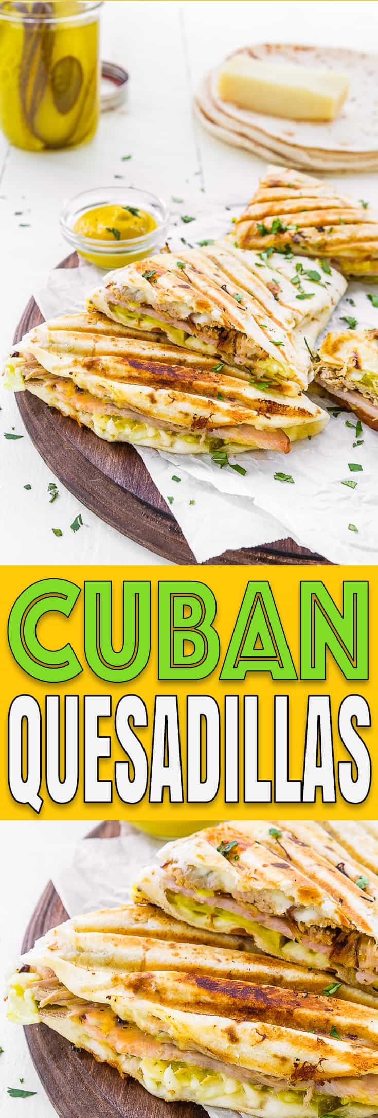 Cuban Quesadillas - #recipe #quesadilla #cuban #gamedayfood #sandwich