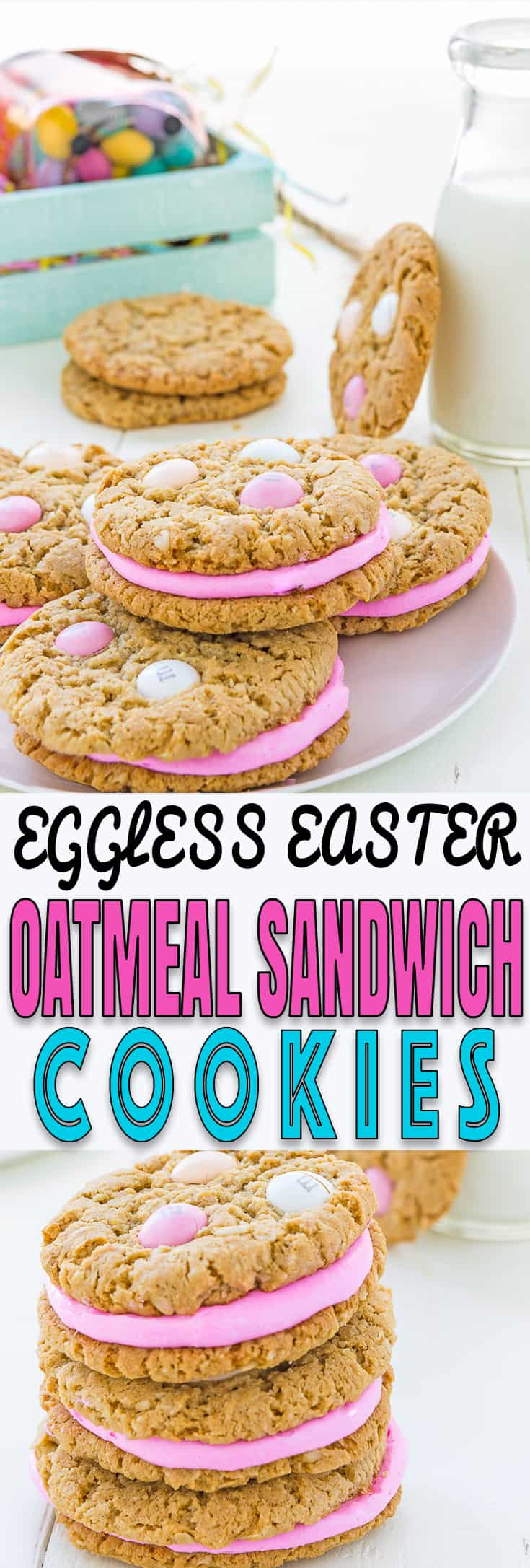 These Eggless Easter Oatmeal Sandwich Cookies are almost too cute to eat, but who can resist easy to make oatmeal cookies, delicious frosting, and M&Ms? The perfect Easter treat!! http://mommyshomecooking.com