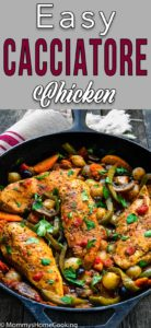 Easy Chicken Breasts Cacciatore in a cast iron skillet with veggies and descriptive text