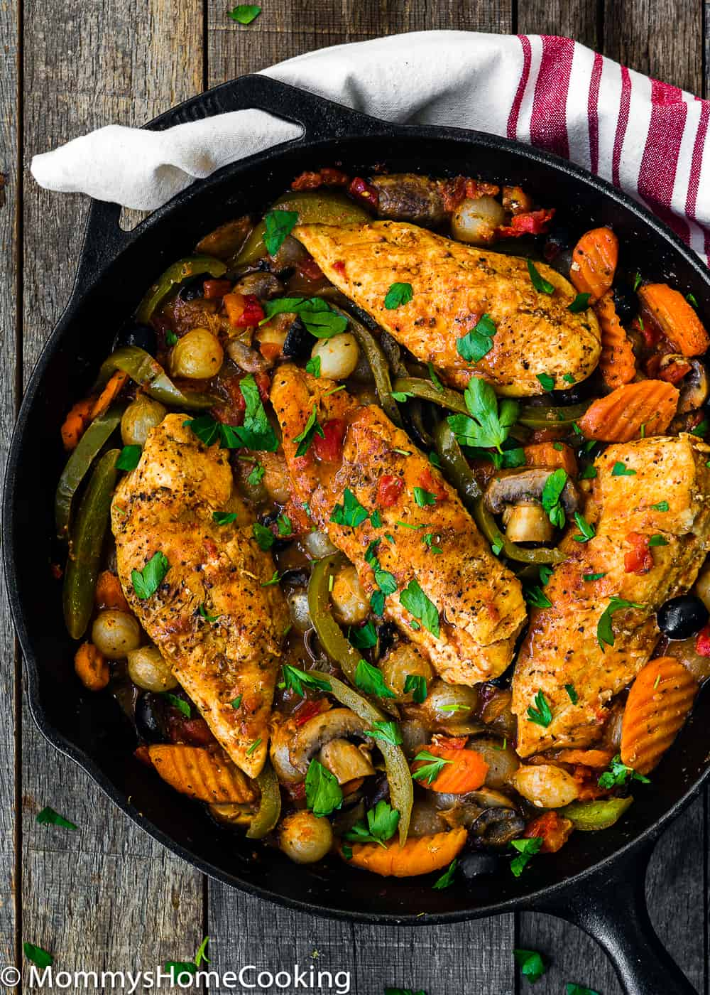 Easy Chicken Cacciatore in a cast iron skillet