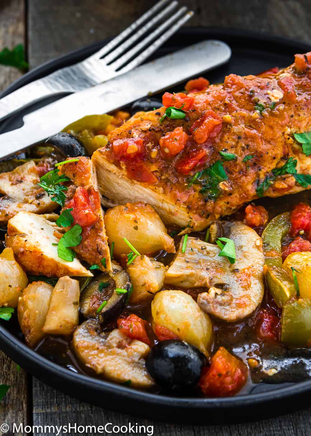 Easy Chicken Breast Cacciatore  with vegetables