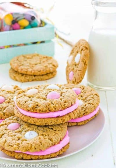Eggless Easter Oatmeal Sandwich Cookies in a plate