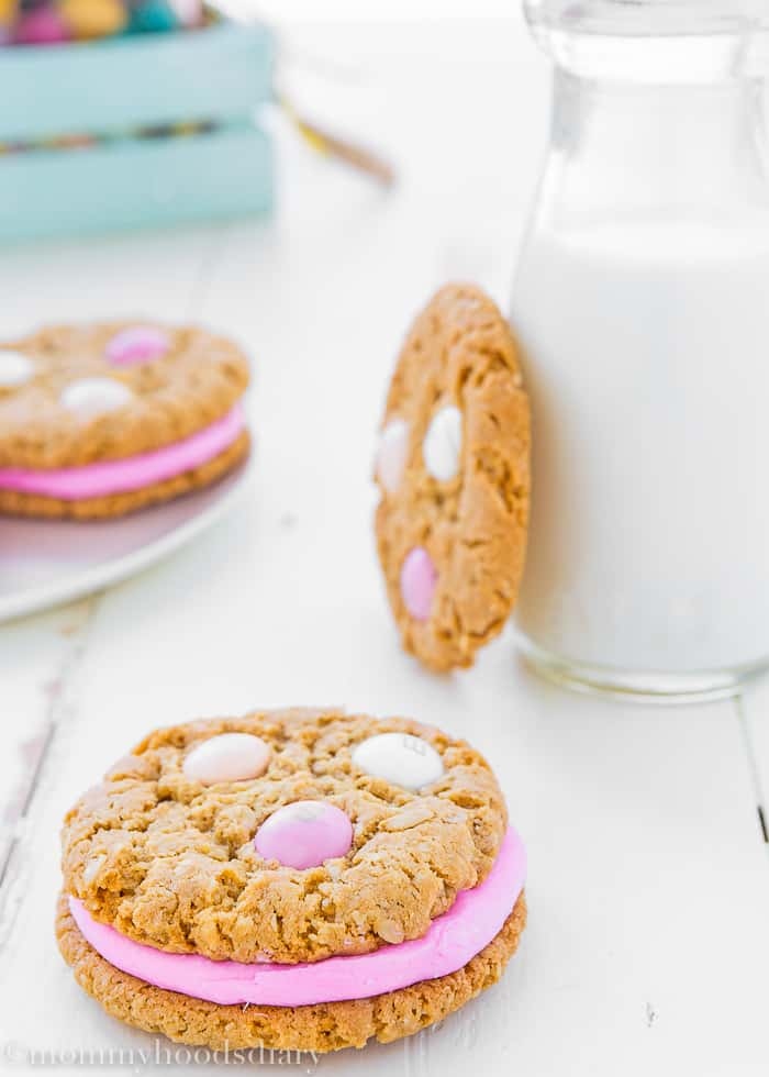 Eggless Easter Oatmeal Sandwiches Cookies-13