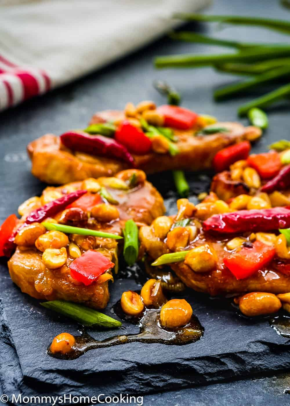 Easy Kung Pao Pork Chops with peanuts and sauce