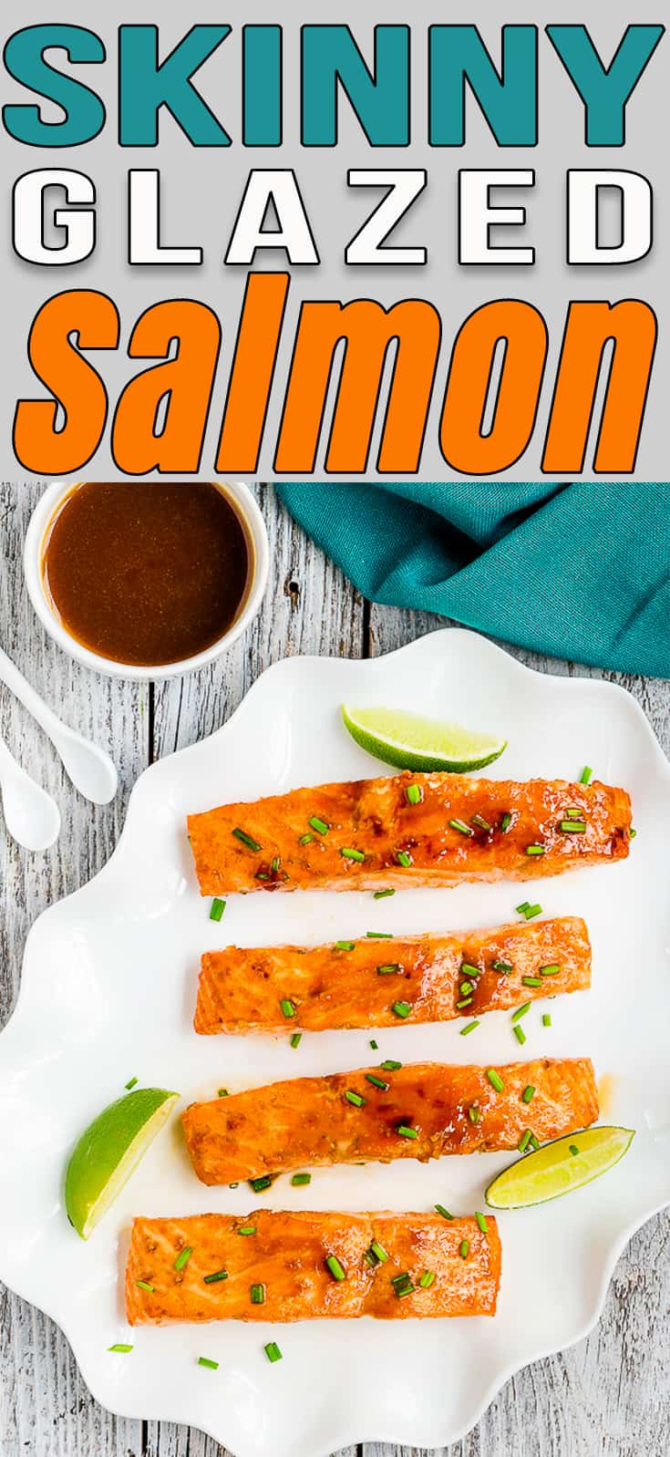This easy 20-minute Skinny Glazed Salmon will soon be a favorite in your family table! It's easy to make with only 5 ingredients. #recipe #salmon #easy #healthy #lowcalorie #weightloss