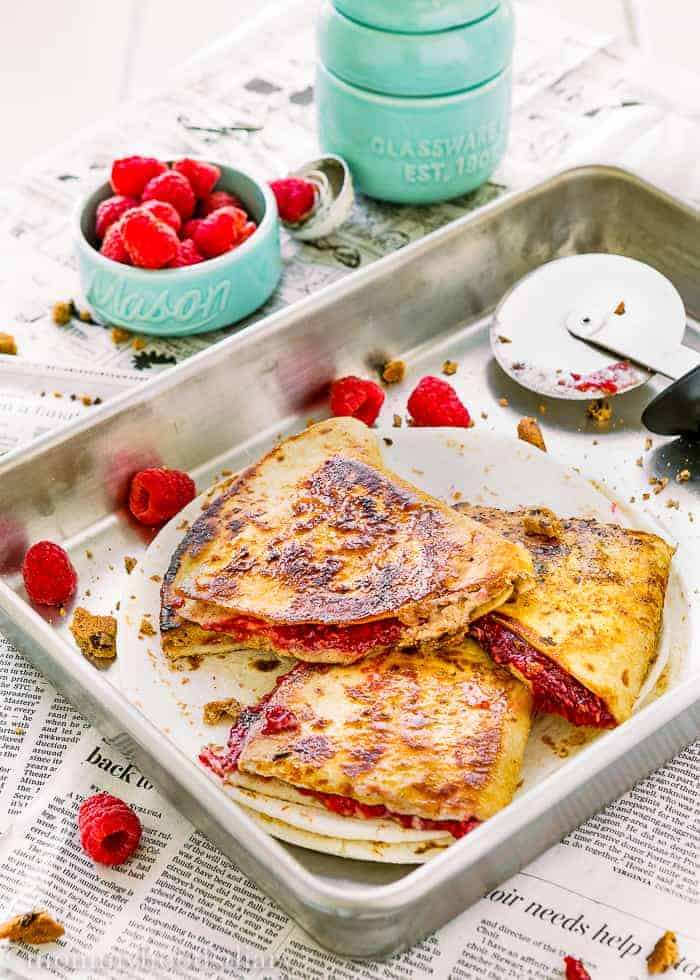 Sweet Raspberry Chocolate Chip Quesadilla-12