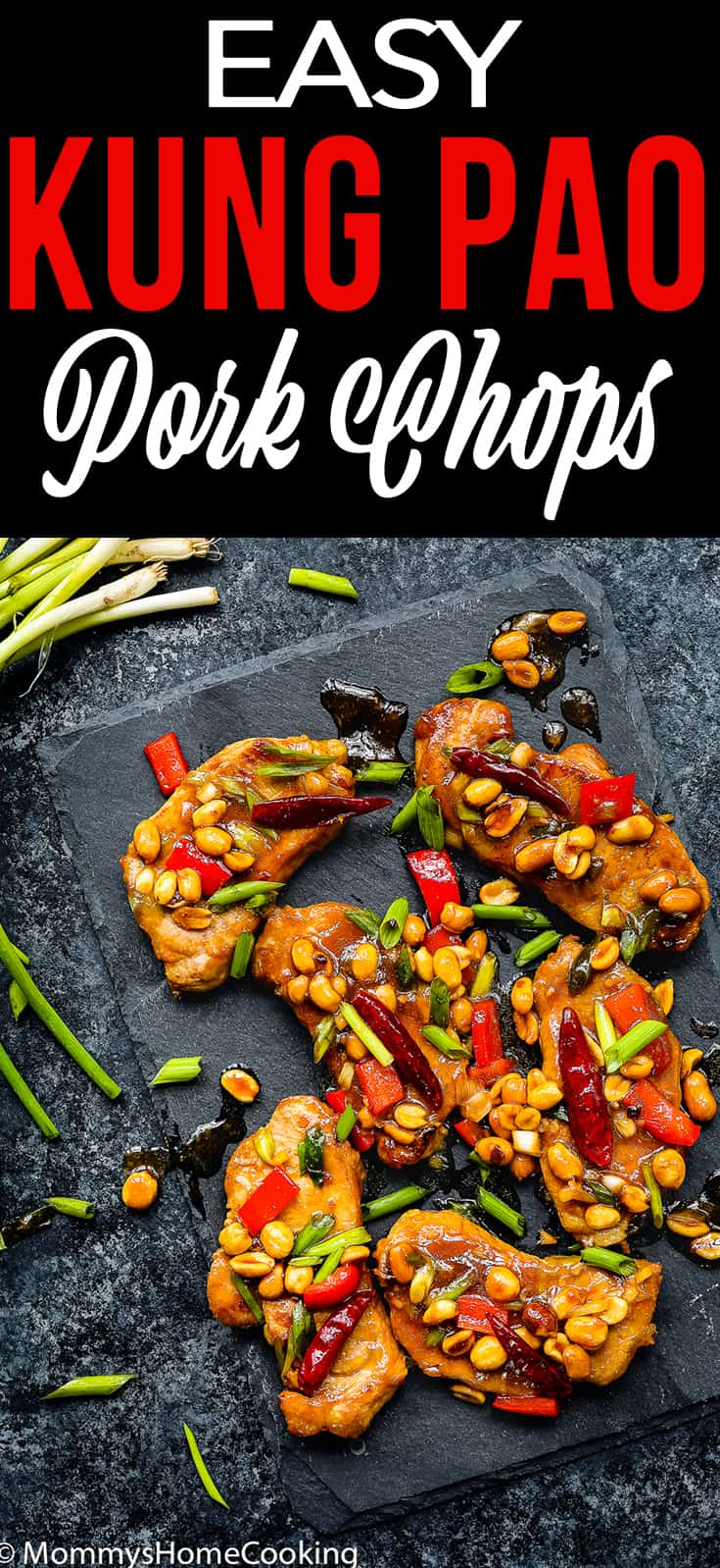 Easy Kung Pao Pork Chops over a black serving plate with descriptive text