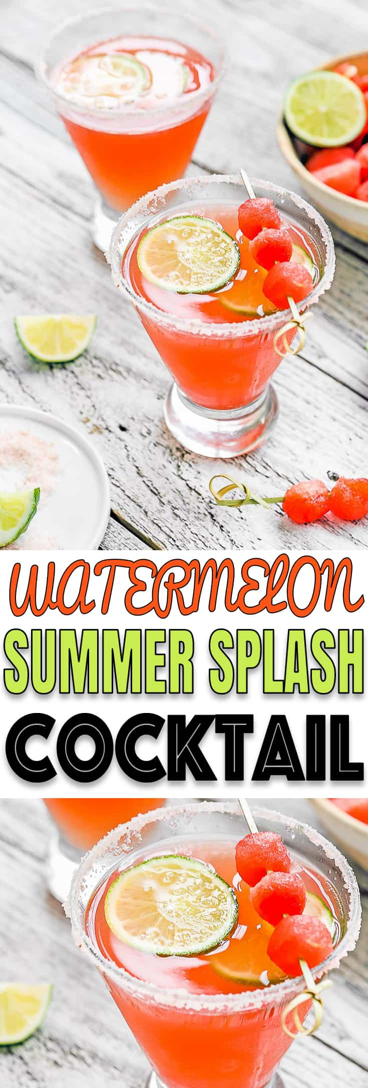 Cool down this Summer with this Watermelon Summer Splash Cocktail!! Fresh Watermelon, Tequila, and Moscato shaken to pure perfection. THE BEST flavor combo, so refreshing! http://mommyshomecooking.com