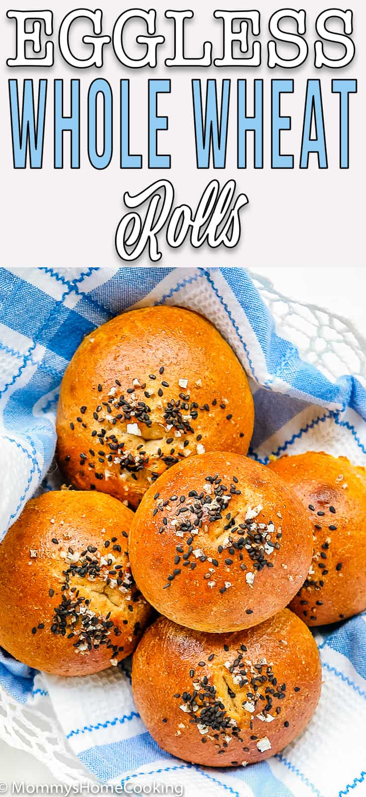 Eggless Honey Whole Wheat Rolls sprinkle with sesame seed and salt with descriptive text