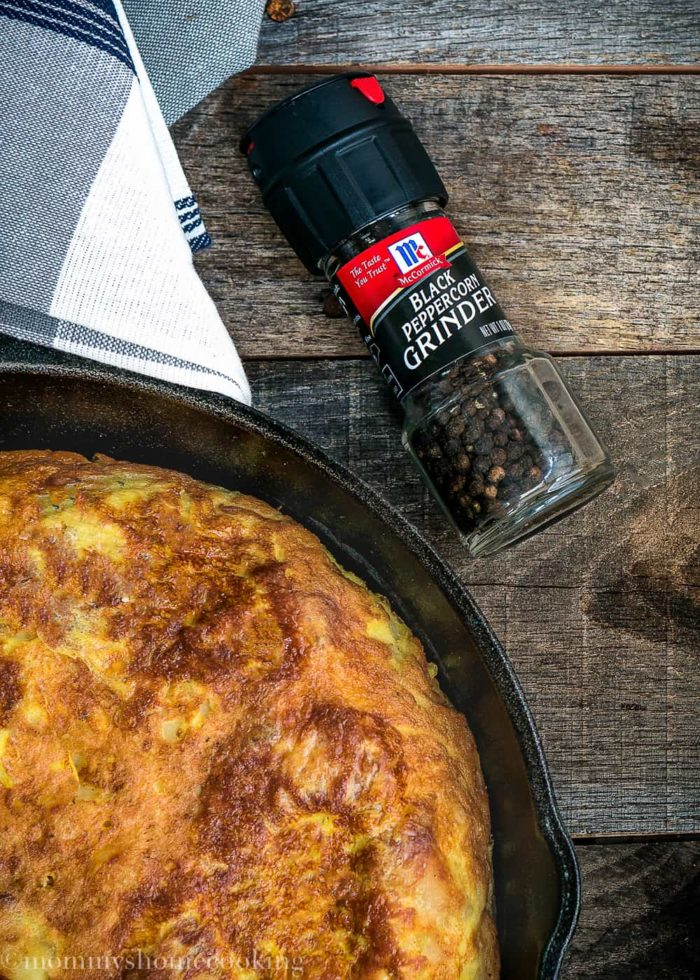 Tortilla Española and Black peppercorn grinder