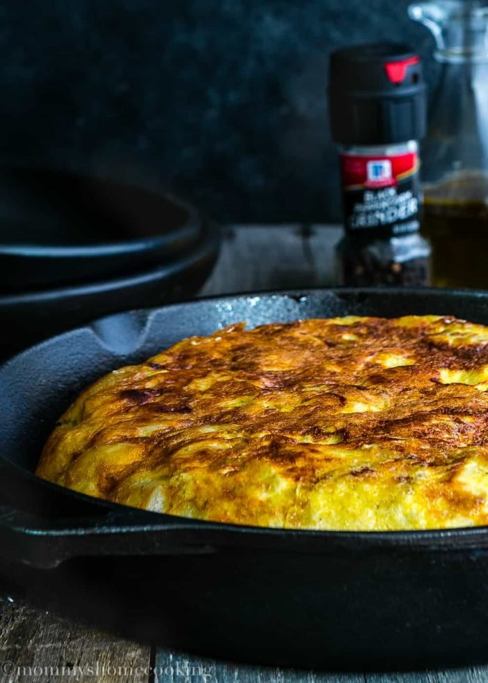 whole Tortilla Española in skillet