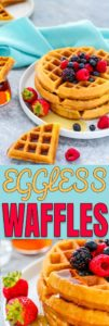 Eggless Waffles in a plate with fruit and syrup
