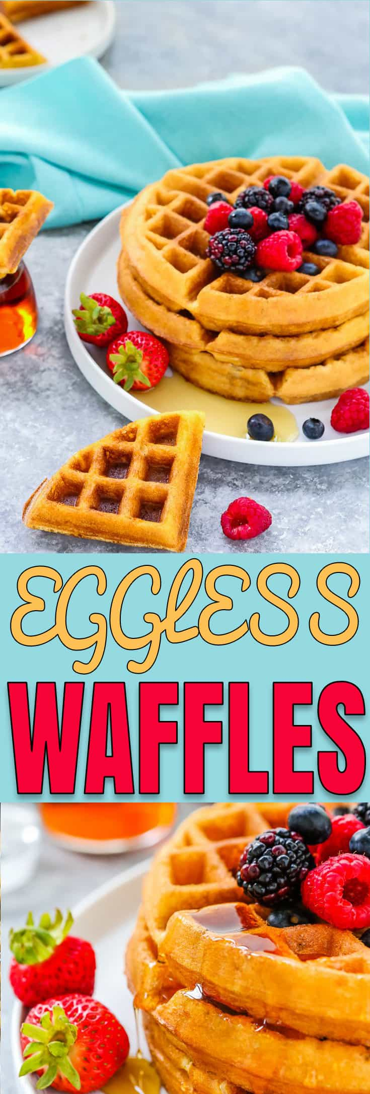 This is my staple recipe for golden and buttery Eggless Waffles! They're perfectly crispy on the outside and fluffy on the inside. This recipe has no eggs…and you won't even notice a difference! https://mommyshomecooking.com