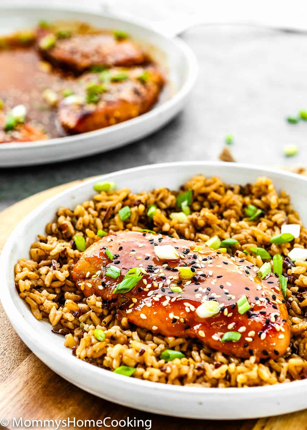 Easy Asian-Style Chicken Breast in a plate with rice