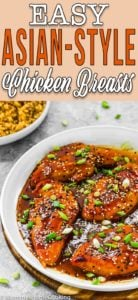 Easy Asian-Style Chicken Breasts in a white skillet with descriptive text
