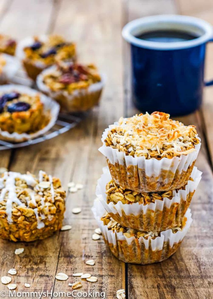 Eggless Baked Apple Oatmeal Muffins with a cup of black coffee
