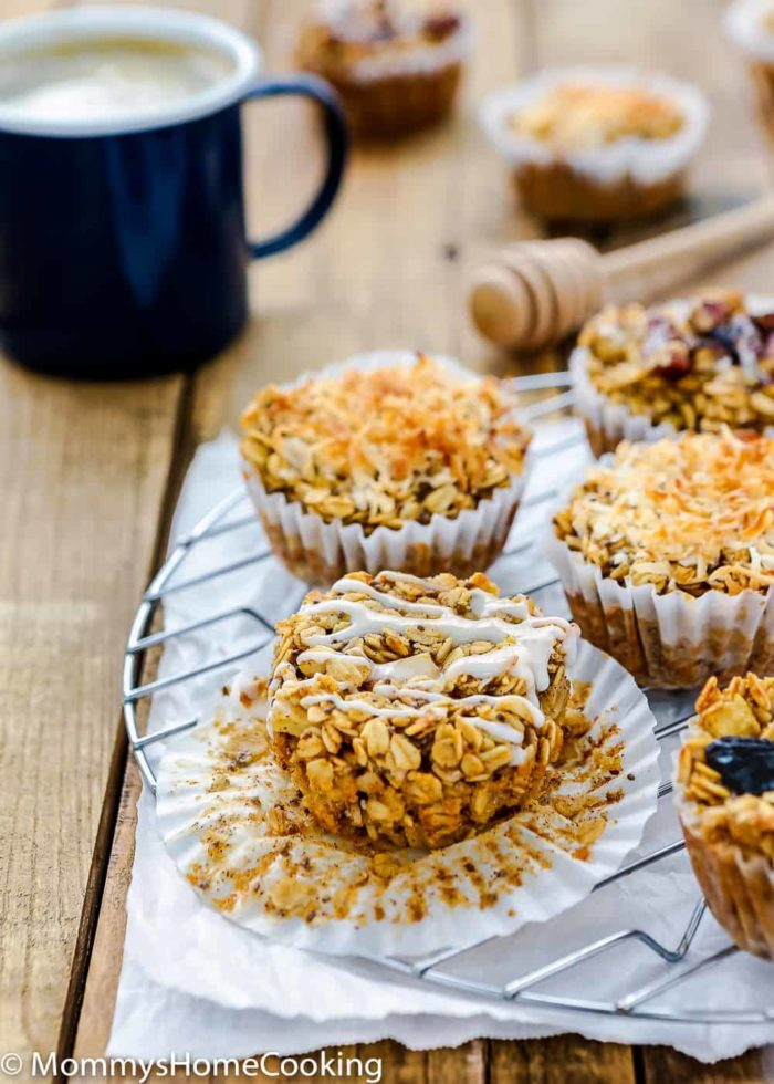 Eggless Baked Apple Oatmeal Muffins over a cooling rack