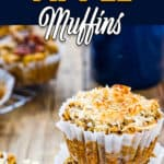Eggless Baked Apple Oatmeal Muffins with descriptive text