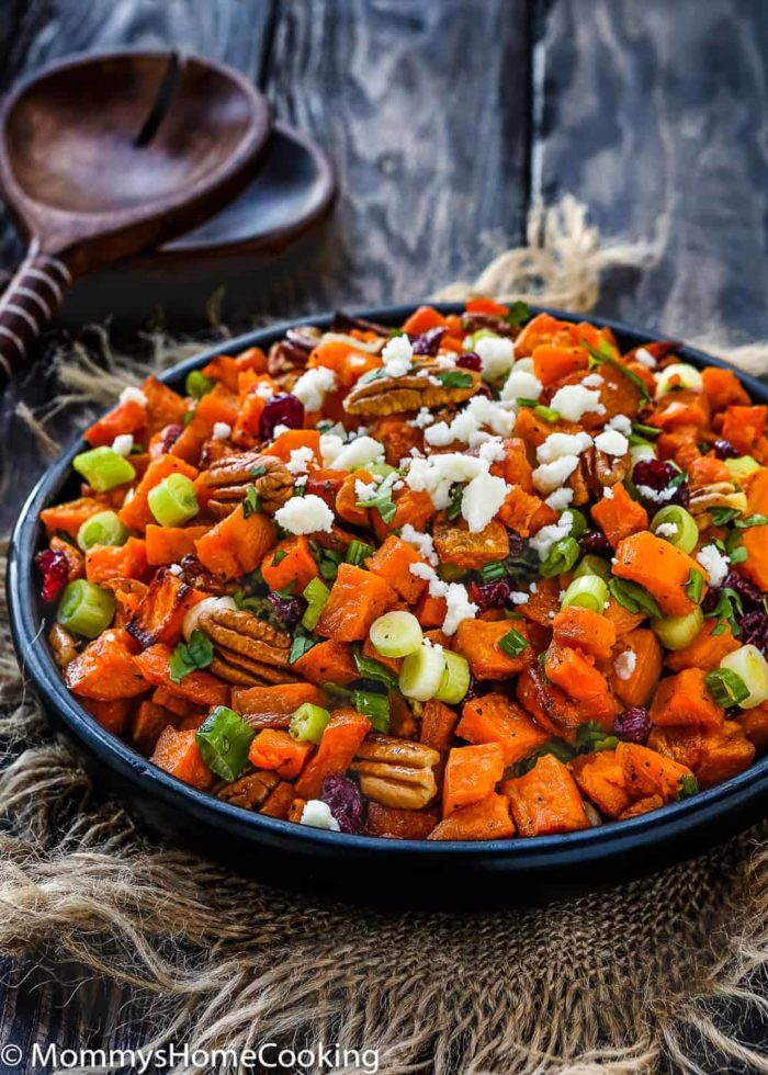 Roasted Sweet Potato and Cranberry Salad and serving spons