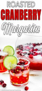 Roasted Cranberry margarita in a glass with descriptive text