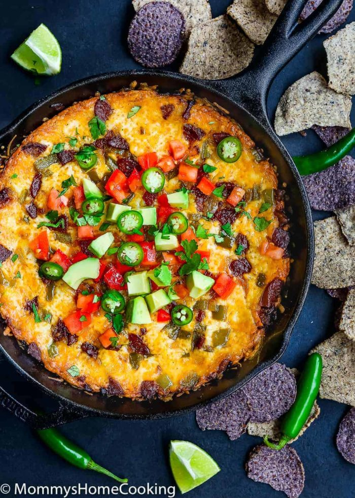 Easy Queso Fundido with Chorizo and Avocado-1