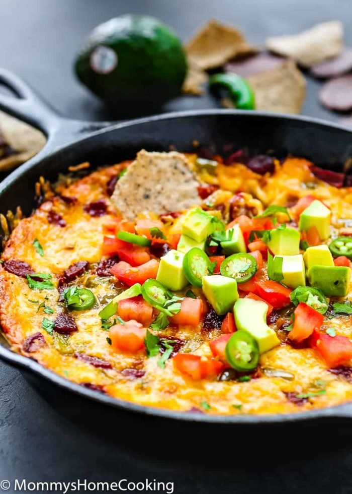 Easy Queso Fundido with Chorizo and Avocado-2