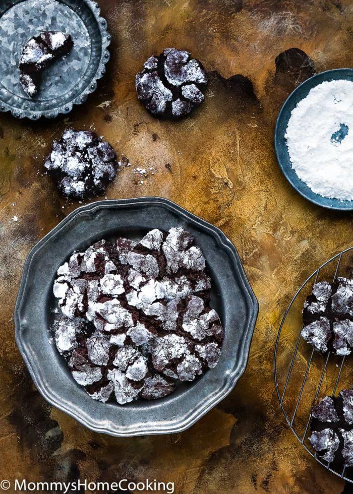 Eggless Chocolate Crinkle Cookies-6
