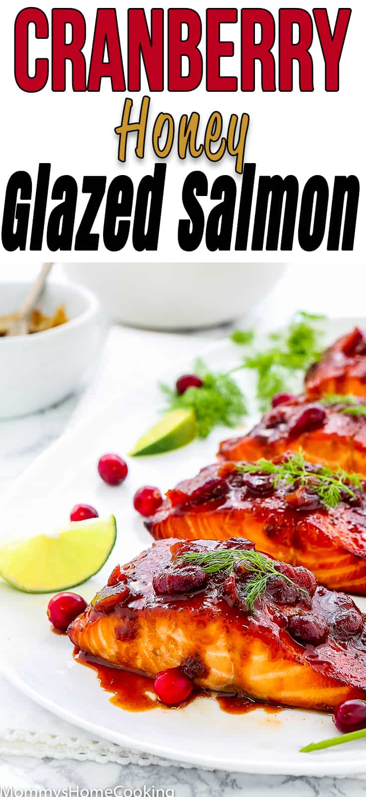 This Cranberry Honey Glazed Salmon is simple yet impressive, and tastes absolutely divine!! It's zesty, sweet, savory, and flaky. It comes together in about 30 minutes. #recipe #salmon #easy #cranberry #dinner