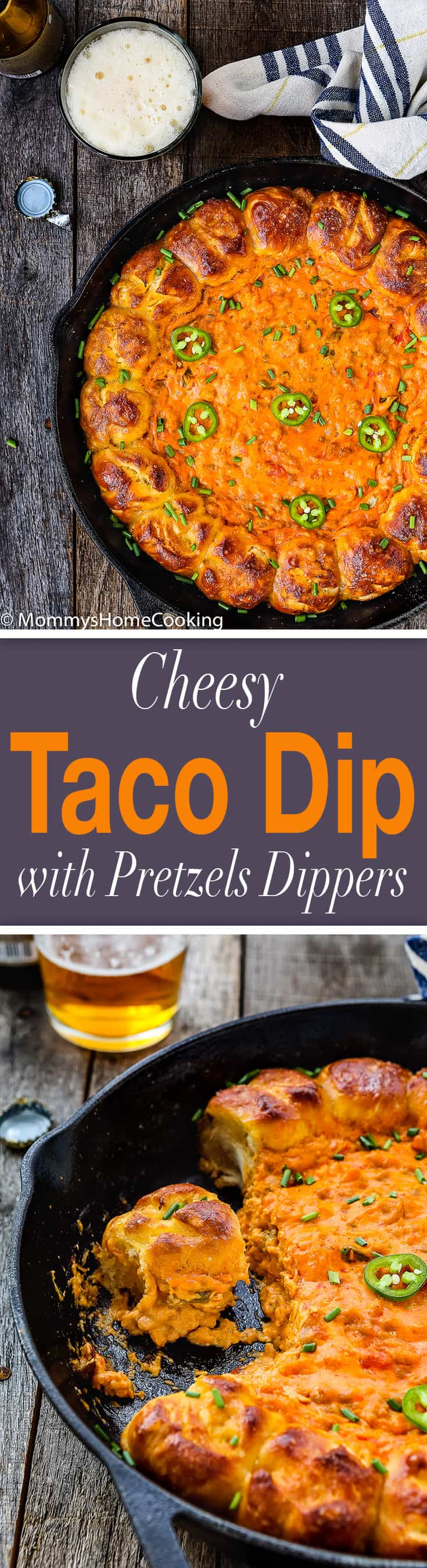 Cheesy Taco Dip with Garlic Pretzels Dippers | Mommy's Home Cooking