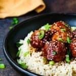 Eggless Teriyaki Turkey Meatballs over white rice
