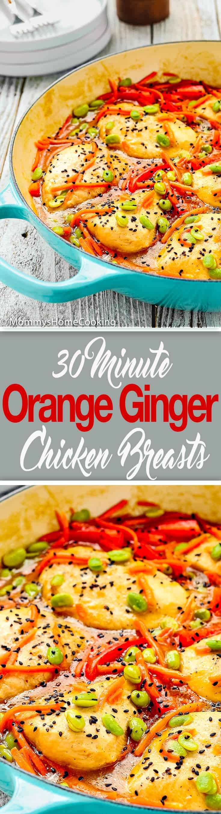 These 30-minute Orange Ginger Chicken Breasts are smothered with a deliciously bright and citrusy orange-ginger sauce. They're a crowd pleasing hit and a fantastic weeknight meal. http://mommyshomecooking