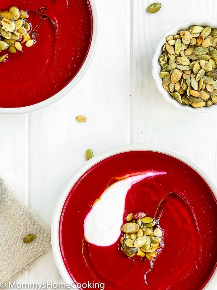 This 20-minute Easy Instant Pot Beet and Leek Soup recipe is chock-full of essential everyday nutrients and crazy delicious. It's incredibly simple to prepare; perfect comfort on a cold winter day! https://mommyshomecooking.com