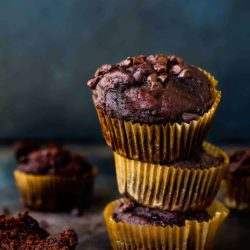 Stack of Eggless Banana Chocolate Chips Muffins