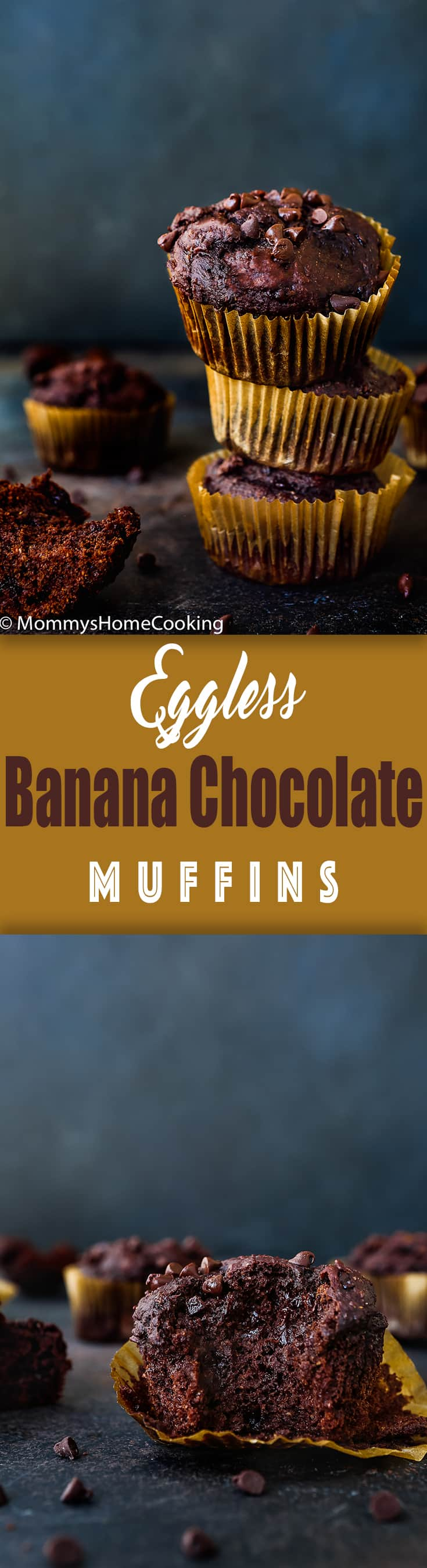 These Eggless Banana Chocolate Chips Muffins simply dreamy-tender in the center, rich, moist and uber chocolatey! Perfect with coffee, or milk, as a snack, or as a dessert, and even breakfast. https://mommyshomecooking.com